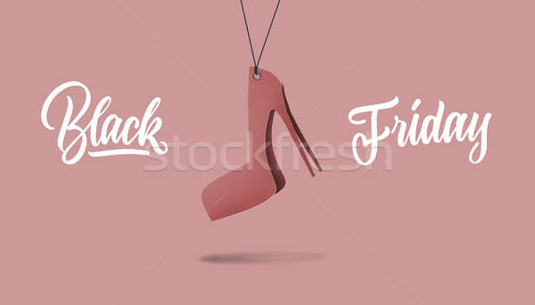 womens shoe on high hill made of cardboard. black friday and sales concept Stock photo © artjazz