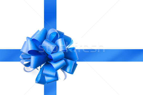 Blue bow from ribbon isolated on white Stock photo © artjazz
