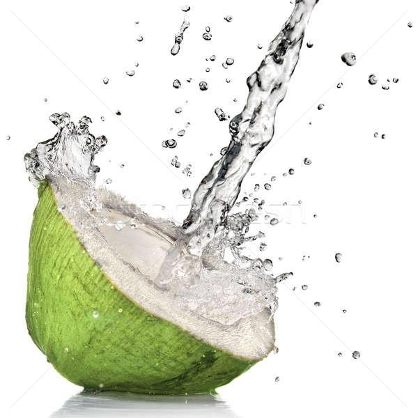 ストックフォト: 緑 · ココナッツ · 孤立した · 白 · 自然