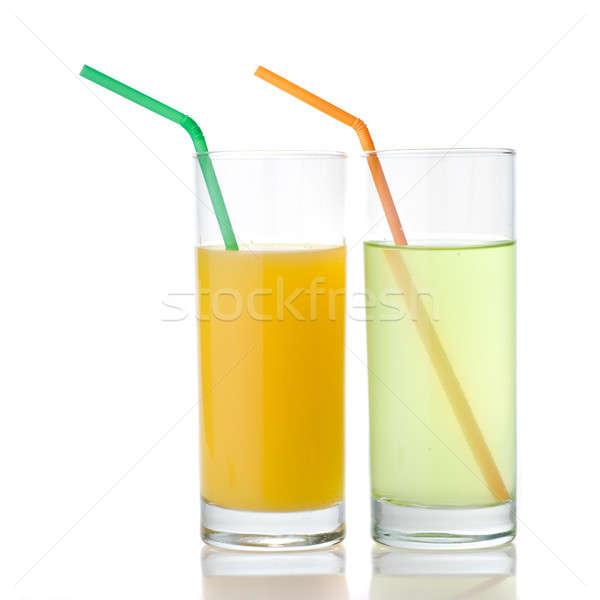 Stockfoto: Kalk · sinaasappelsap · geïsoleerd · witte · voedsel · zomer