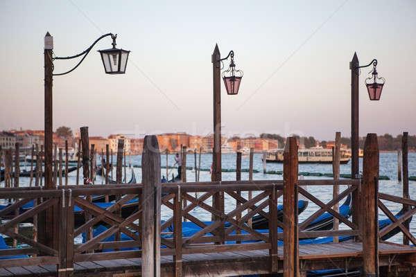 фонарь канал Венеция улице закат Сток-фото © artjazz
