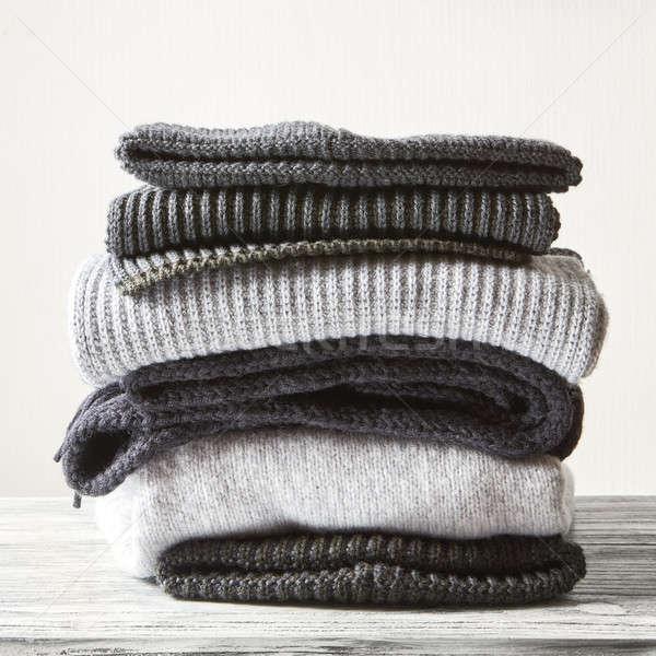 Gebreid winter kleding grijs Stockfoto © artjazz