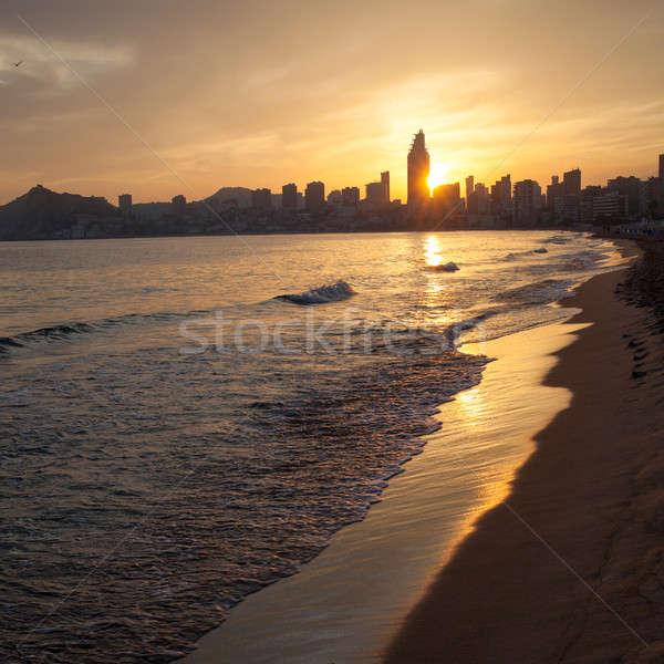 Golden sunset on the Poniente beach in Benidorm Stock photo © artjazz
