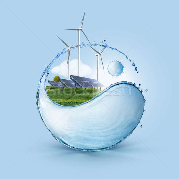 Wind turbine and solar cell grows in the field Stock photo © artjazz