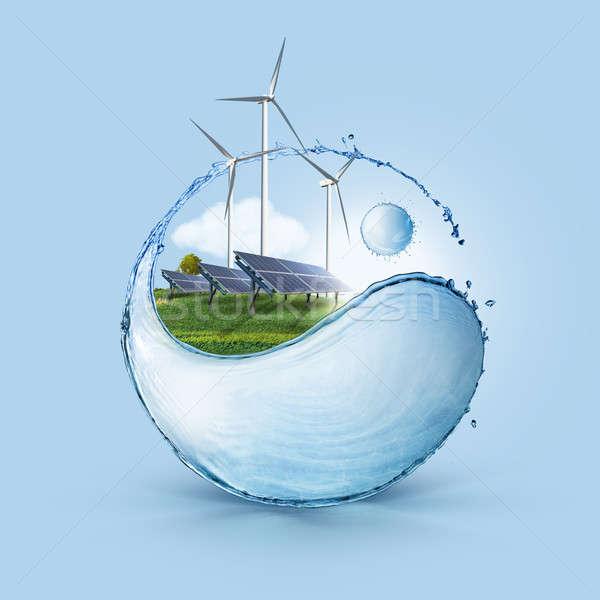 Stockfoto: Windturbine · zonne · cel · veld · windmolen · zonnepanelen