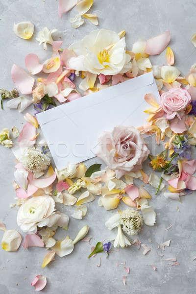 çiçekler gri gün bo kullanılmış yazı Stok fotoğraf © artjazz