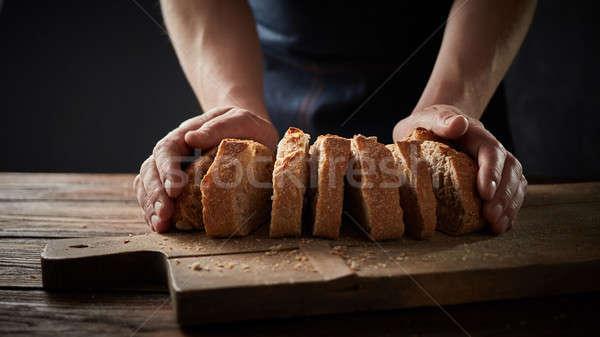 シェフ パン 木製 まな板 健康的な食事 ストックフォト © artjazz