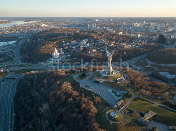 Aerial view from the drone to the Motherland Monument, Botanical Garden, Dnieper River, road junctio Stock photo © artjazz
