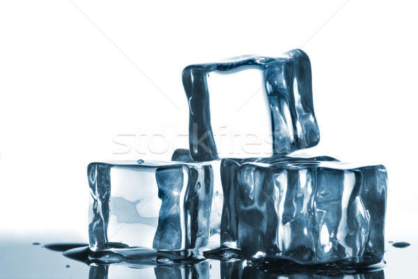 ice cubes with water drops on white Stock photo © artjazz