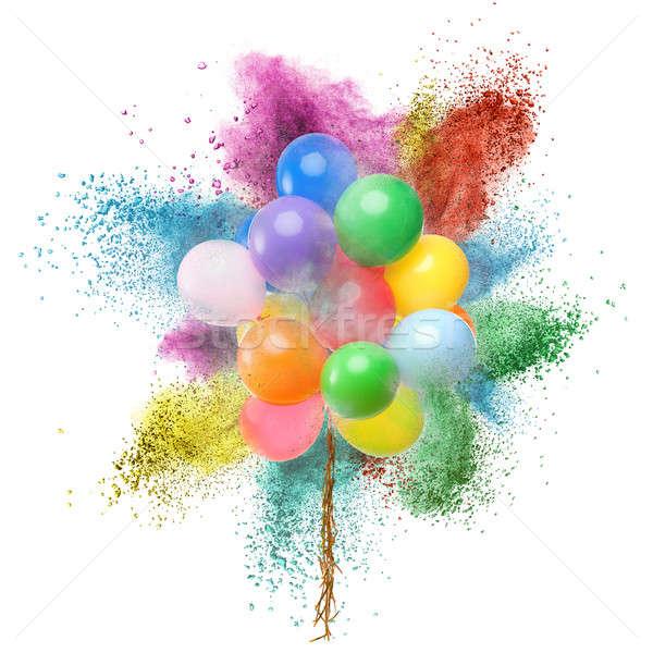 Kleur ballonnen poeder explosie geïsoleerd witte Stockfoto © artjazz