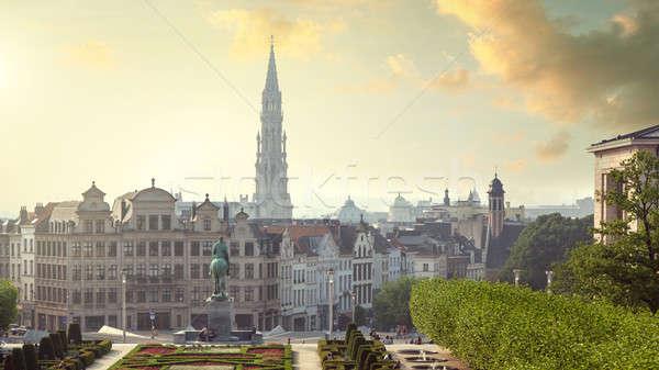 Művészetek Brüsszel Belgium naplemente fejléc weboldal Stock fotó © artjazz