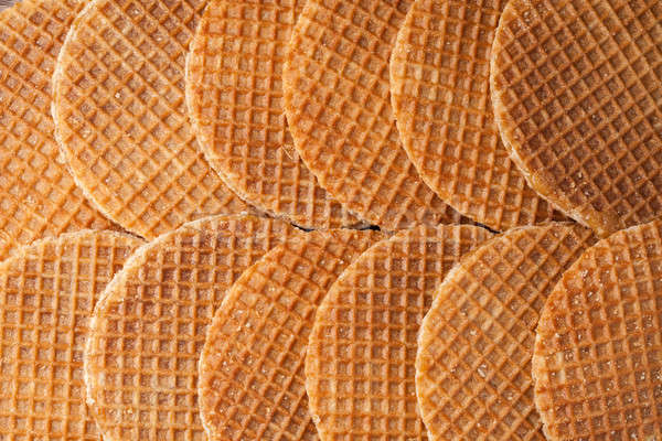 Stock photo: Waffles with caramel background