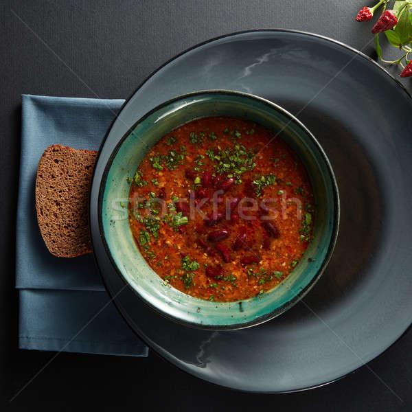 Tazón sopa de frijol negro mesa invierno placa Foto stock © artjazz
