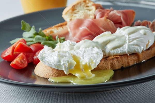 伝統的な 英語 朝食 卵 トースト トマト ストックフォト © artjazz