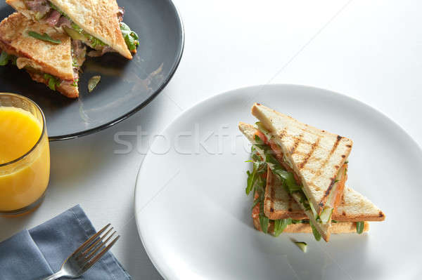 two club sandwich with various fillings Stock photo © artjazz