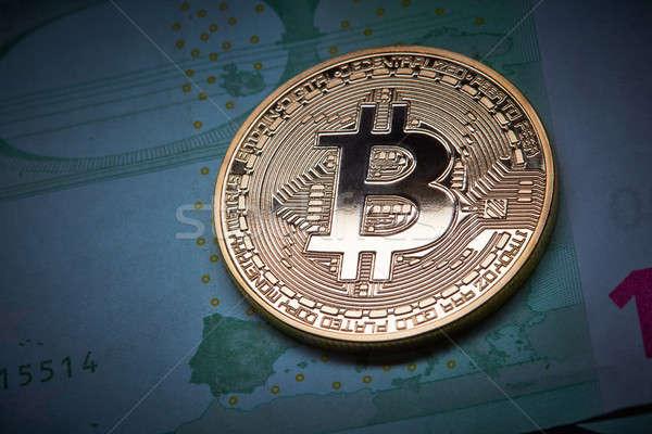 Bitcoin monet euro podziemnych gospodarki Zdjęcia stock © artjazz