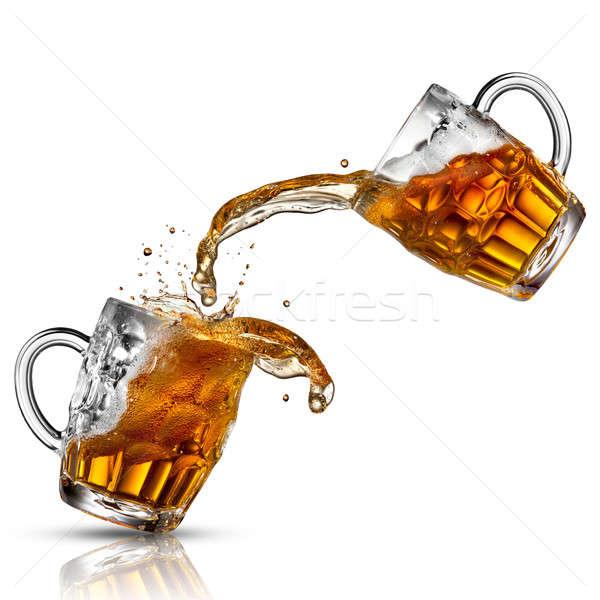 ビール スプラッシュ 眼鏡 孤立した 白 水 ストックフォト © artjazz