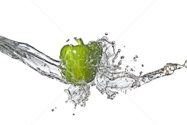 édesvíz csobbanás zöld édes bors izolált Stock fotó © artjazz