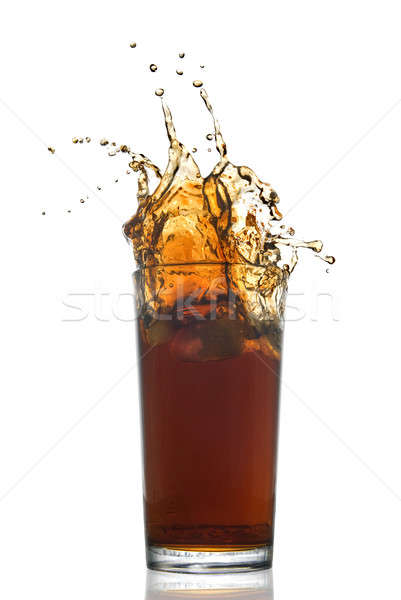 Mooie splash cola glas geïsoleerd witte Stockfoto © artjazz
