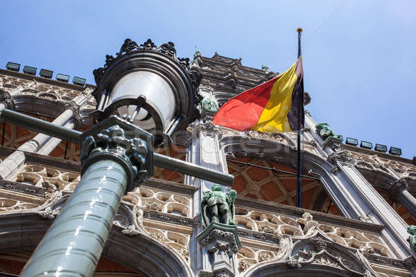Belgium flag on Grand Place in Brussels Stock photo © artjazz