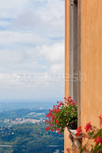 Flowers on the window against view of italian city in mountains Stock photo © artjazz