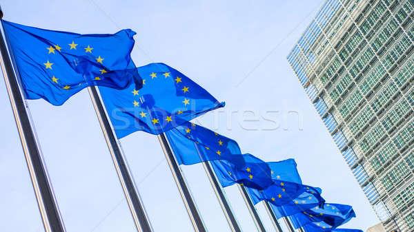 Européenne Union drapeaux bâtiment Bruxelles Belgique Photo stock © artjazz