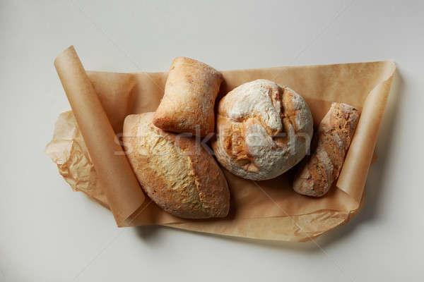 Diferente pão centeio papel isolado Foto stock © artjazz