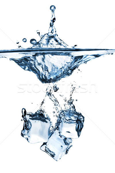 ice cubes dropped into water with splash isolated on white Stock photo © artjazz