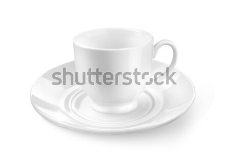 白 茶 コーヒーカップ ソーサー 孤立した 食品 ストックフォト © artjazz