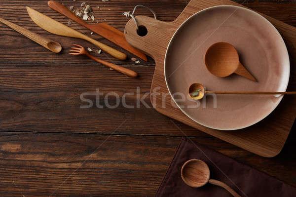 Kırsal bağbozumu ahşap mutfak masası pişirme Stok fotoğraf © artjazz