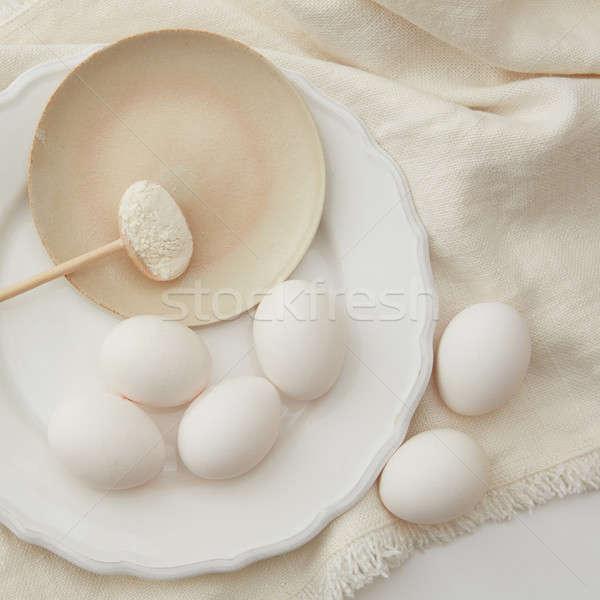 Сток-фото: сырой · яйца · ложку · мучной · Ингредиенты