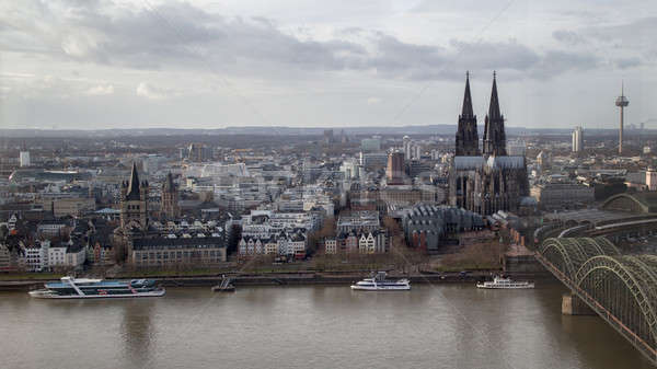 view on historical center of Cologne Cathedral from Rhine river Stock photo © artjazz