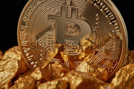 bitcoin gold coin, cryptocurrency and blockchain concept Stock photo © artjazz