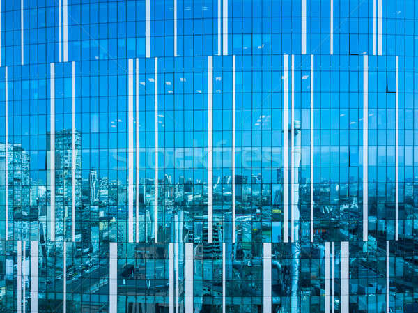cityscape reflection on a glass facade modern office Building in Kiev Stock photo © artjazz