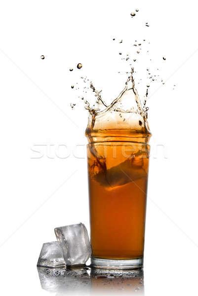 Stock fotó: Gyönyörű · csobbanás · kóla · üveg · jégkockák · izolált