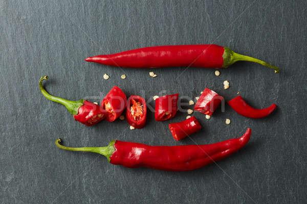 新鮮な 切り 赤 唐辛子 黒 ストックフォト © artjazz