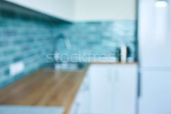 Zamazany obraz wnętrza kuchni niebieski ceramiczne płytek Zdjęcia stock © artjazz