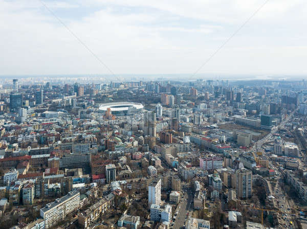 The city of Kiev, modern houses and roads with lots of cars. The area of Kiev with the Olympic Sport Stock photo © artjazz