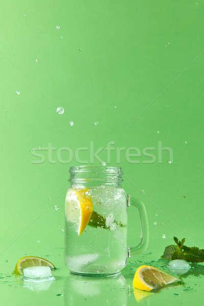 Splash limonade verschillend metselaar jar Stockfoto © artjazz