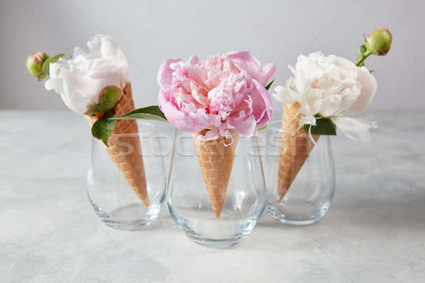 Sweet waffle cones with beautiful coloful peony flowers in glass Stock photo © artjazz
