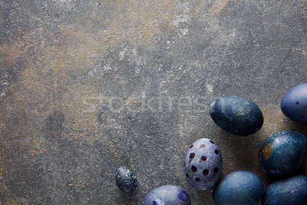 Stockfoto: Blauw · paaseieren · hoek · donkere · beton · ruimte