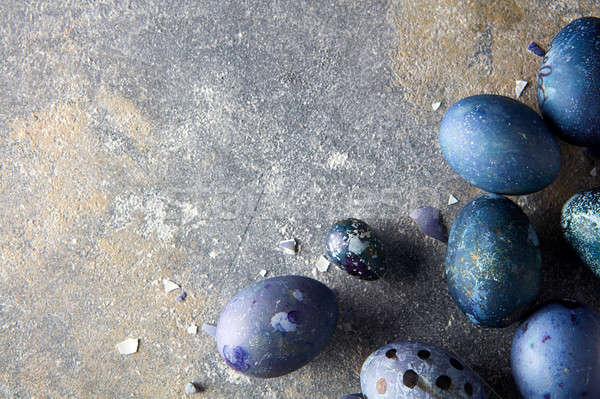 Kék tojások keret sötét étel háttér Stock fotó © artjazz