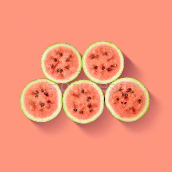 Foto d'archivio: Anguria · fette · isolato · rosa · pattern · pezzi