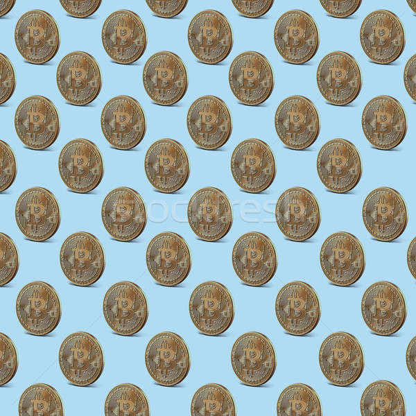 Gold coin bitcoin, pattern seamless Stock photo © artjazz