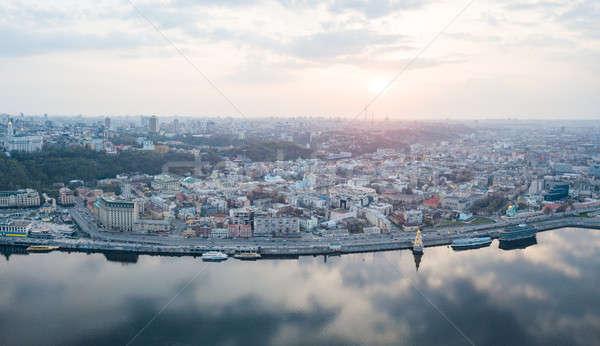 Panoramisch vogels oog schieten wijk Stockfoto © artjazz