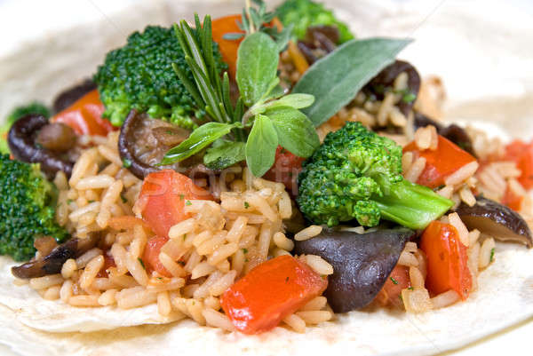 macro of risotto with vegetables Stock photo © artjazz