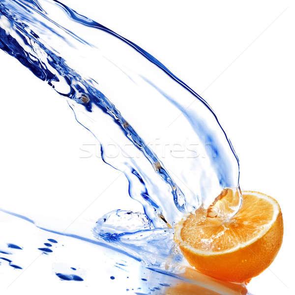 Eau douce gouttes orange isolé blanche alimentaire Photo stock © artjazz