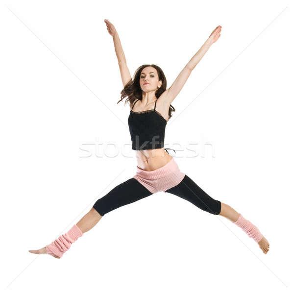 Stok fotoğraf: Atlama · genç · dansçı · yalıtılmış · beyaz · kadın