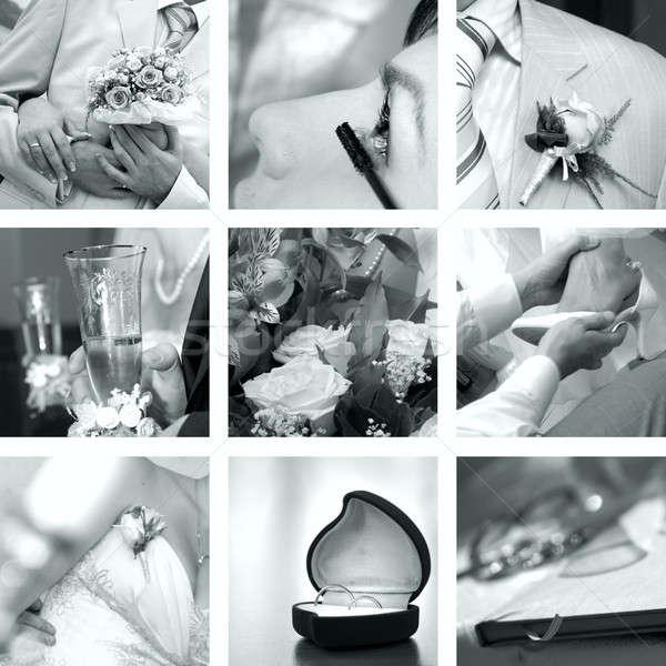 Stock photo: black and white wedding photos set