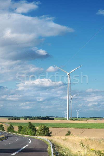 ветер генератор турбина лет пейзаж небе Сток-фото © artjazz